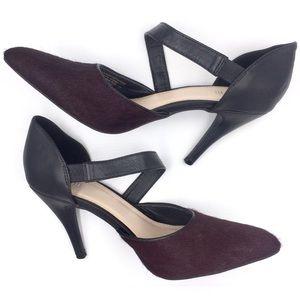 Calf hair & leather burgundy black d'Orsay pumps 8